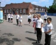 Making a human living graph in the playground to show the highs and lows of Boudicca's revolt