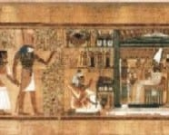 Scene from the Book of the Dead. Pupils take on the role of characters in the image and act out the journey of Ani to Osiris and the afterlife