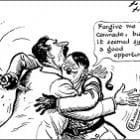 Which cartoon best explains the paradox of the Nazi Soviet pact?